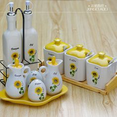 Online Shop Sunflower kitchen supplies spice jar ceramic oiler condiment bottles 15 set|Aliexpress Mobile