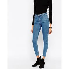 ASOS Ridley High Waist Skinny Jeans in Lily Pretty Mid Stonewash (£28) ❤ liked on Polyvore featuring jeans, lily pretty blue, super skinny jeans, skinny jeans, white high waisted jeans, skinny fit jeans and white skinny jeans