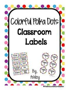 Colorful Polka Dots Classroom Labels