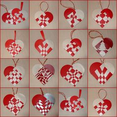 Danish heart ornaments. I like the quilt-like one in the third row and third column
