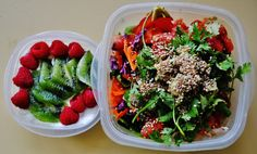 ashleybar:  lunch: spinach salad with quinoa, soy ginger chicken, purple cabbage, grated carrot, sliced tomato, garnished cilantro avocado and toasted sesame seeds yogurt with raspberries kiwi and grated ginger topped with (unpictured) toasted coconut on the side