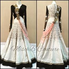 White & Black Bridal Designer Lehenga By Thankar Lehengas