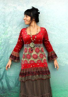 Réservé pour ethnique Ana Caron SM Inde étirement robe tunique velours avec pendentif style de boho hippie