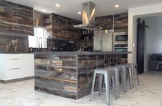 Amazing diy stikwood finished kitchen cabinets headboard walls looking for creative ways to improve the look and feel of your kitchen here are solutioingenieria Choice Image