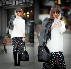 polka dot skirt, bucket bag Tila March, GalantGirl, skirt winter outfit,