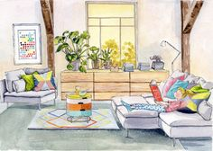 Art Print Girl Reading in Living Room 8x10 by strawberrysnail