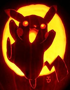 Really awesome pikachu pumpkin carving.!!! Happy Halloween!