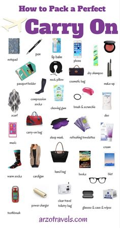 Carry-pn packing guide. Thing stop pack for your next (long distance) flight. Travel.