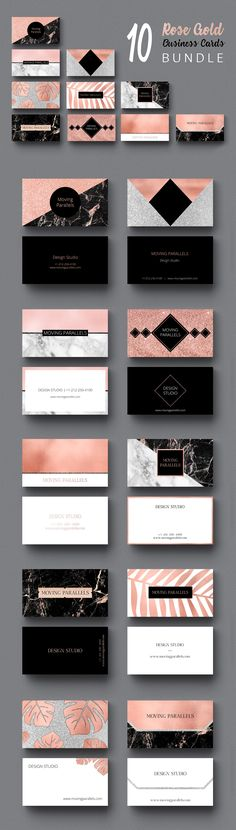 Rose Gold Business Cards BUNDLE only for 18$ It includes kit of 10 classy, sophisticated and elegant visiting card templates made in minimal style, looks professional and clean. Modern and clever design mixes several materials: rose gold foil, white and black marble and silver, copper, black glitter. You can easily customize and use templates pack for personal identity, name cards, professional branding, marketing, calling cards, launches, events, invites, promotion. Print ready. Free fonts.