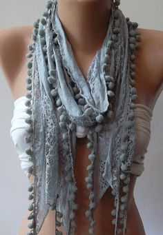 Grey  Lace and Elegance Shawl / Scarf  with Pompom by womann, $15.50