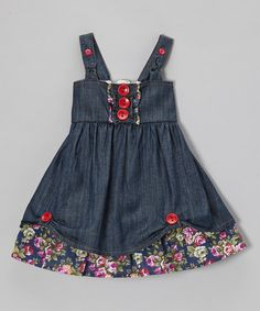 the Silly Sissy Denim Floral Button Cupcake Dress - Infant, Toddler & Girls | zulily