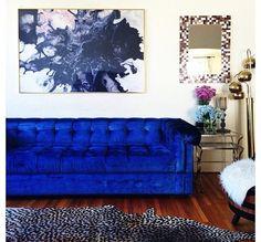 Electric blue chesterfield sofa
