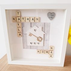 New Home Personalised Scrabble Frame. Perfect moving gift for new house by CandyCaneCraftsCo on Etsy Box Frame Art, White Box Frame, Diy Frame, Box Frames, Scrabble Crafts, Scrabble Frame, Scrabble Art, Frame Crafts, Craft Frames