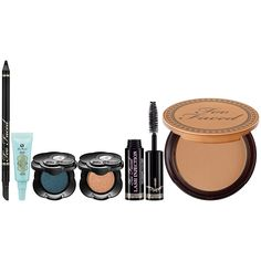 Too Faced Beauty BFF Set is the perfect travel buddy. Includes eyeliner, mini shadow insurance, two eye shadows, lash thickening mascara, and a matte bronzer #Sephora #BeautytoGo