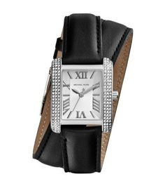 A mini style moment with maximum glamour—enter the Emery watch in a sleek, scaled-down design. Framed by sparkling pavé stones, the clean, rectangular dial features classic Roman numerals, while the leather double-wrap bracelet will give your wrist a luxe, layered look. The juxtaposition of high-shine details and rich leather lends itself perfectly to fall's plush fabrics and luxe looks.