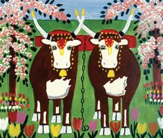 Oxen, oil/board. Maud Lewis (1903-1970)