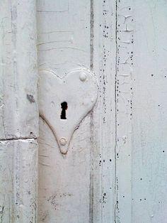 WHITE HEART DOOR LOCK KEYHOLE