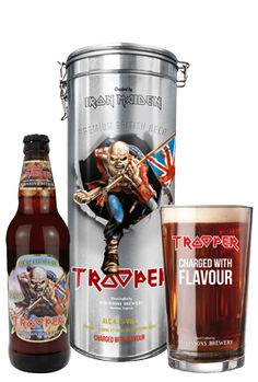 Beautifully embossed Trooper gift tin, complete with a bottle of Iron Maiden's Trooper ale and a branded pint glass. It's the perfect gift for any Trooper fan! Tin Gifts, Beer Gifts, Beer Mugs, Beer Bar, Trooper Beer, Iron Maiden Mascot, Where Eagles Dare, Rock Poster, Wine And Beer