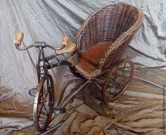 Купить Антикварная плетеная коляска - велосипед для кукол и игрушек в интернет магазине на Ярмарке Мастеров