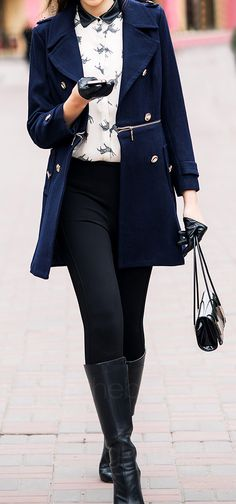 Equestrian detail + navy / black