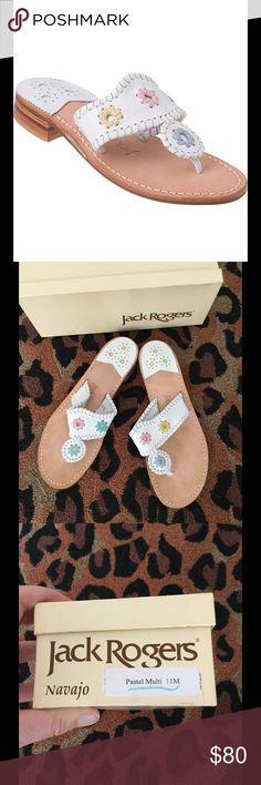 Jack Rogers pastel Multi Navajo sandals Sz 11 Fabulous pair of white Jack Rogers with pastel accents.  These are a size 11 M.  These were worn once for about 45 minutes while we were having family photos taken.  Like new condition - the tiniest about of wear on bottom of sole. Jack Rogers Shoes Sandals