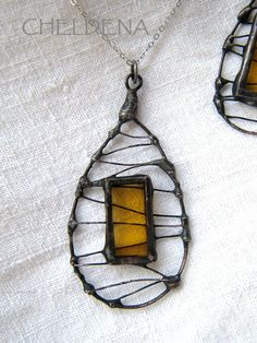 Stained Glass Necklace Set in Vintage Lemon - Cheldena.etsy.com