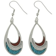 These beautiful teardrop-shaped earrings feature pewter castings with thick palladium plating for a tarnish-free mirror finish. The earrings are adorned with inlaid turquoise and coral crescents. Show
