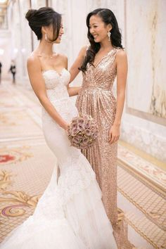 Rose Gold Bridesmaid Dress,Sequins Wedding Party Dress,Rose Gold Evening Formal Dress,Plus Size Wedding Dress,Sequins Long Dress