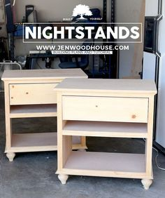 DIY Nightstand Bedside Tables - Learn how to build a DIY nightstand with this step-by-step tutorial and building plans by Jen Woodhouse.