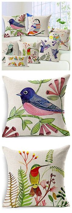 nice Brids Printed Pillow Covers are so cute for a country style home. Sewing Pillows, Diy Pillows, Linen Pillows, Cushions, Throw Pillows, Diy Pillow Covers, Decorative Pillow Covers, Cushion Covers, Motif Floral