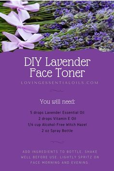 DIY Lavender Face Toner Essential Oil Spray Recipe | Lavender Essential Oil | Skincare Routine | Natural Beauty Product | Homemade Astringent | Spray Bottle Recipes