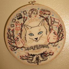 New York Kitty Art: Conceptual Self-Portrait Embroidery