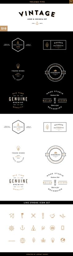 Vintage Logo Kit: Volume Five by Jeremy Vessey via Behance Typography Logo, Logo Branding, Typography Design, Graphic Design Branding, Logo Design, Packaging Design, Logos Vintage, Retro Logos, Vintage Branding