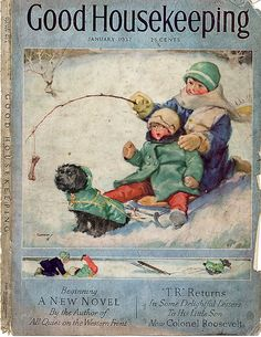 "January 1937 ~ ""Good Housekeeping"" Magazine Front Cover Illustration by Horace Gaffron Scottish Artist . Vintage Ephemera, Vintage Cards, Vintage Postcards, Vintage Paper, Old Magazines, Vintage Magazines, Vintage Pictures, Vintage Images, Journal Vintage"