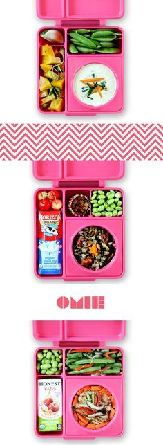It's easy to keep lunches exciting with OmieBox! Use the insulated stainless steel bowl to keep food warm until lunchtime. The leak-proof side compartments keep food cool and fresh until lunchtime. #omiebox