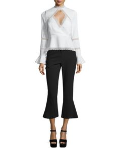 Lace-Inset+Keyhole-Front+Top+&+High-Waist+Cropped+Flare+Pants+by+n/nicholas+at+Neiman+Marcus.
