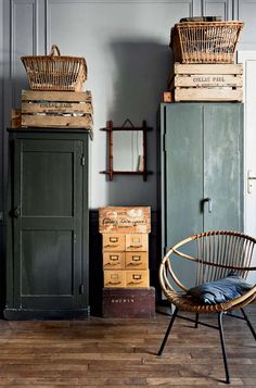 dark green cabinet and woven home furnishings / sfgirlbybay The Best of home design ideas in - Home Decoration - Interior Design Ideas Home Interior, Interior Paint, Interior Design, Rustic Furniture, Painted Furniture, Painted Armoire, Painted Cupboards, Green Painted Walls, Rustic Apartment