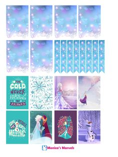 """""""sticker kit"""" frozen (the happy planner by MAMBI) sticker. Free printable sticker layout may be subject to copyright not intended for retail; personal use only. for more have a look at my blog! https://monicasmarvels.wordpress.com/frozen-printables/"""
