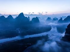 Picture of peaks at sunset in Guilin, China
