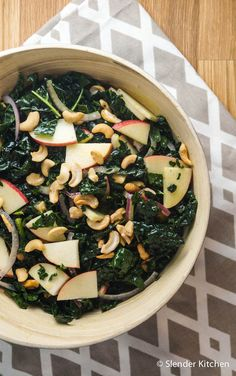 Maple Dijon Kale Salad with Apples and Cashews - Slender Kitchen. Works for Clean Eating, Gluten Free, Vegan, Vegetarian and Weight Watchers® diets. 193 Calories.