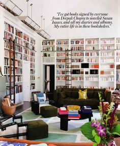 Diane von Furstenberg's bookshelves - via  http://www.thegoodsdesignblog.com/2010/09/fashion-week-part-deux.html. I wish I had a room that looked like this!