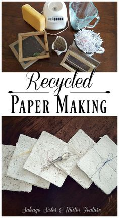 Recycled paper making. Taking shredded paper and turning it into new paper to use. This tutorial will show you how to do this craft project but also the story of one persons creative process through grief. Handling the loss of a daughter through cancer Diy Craft Projects, Diy And Crafts, Crafts For Kids, Recycling Projects, Craft Ideas, Diy Ideas, Diy Projects Recycled, Upcycled Crafts, Recycled Paper Crafts