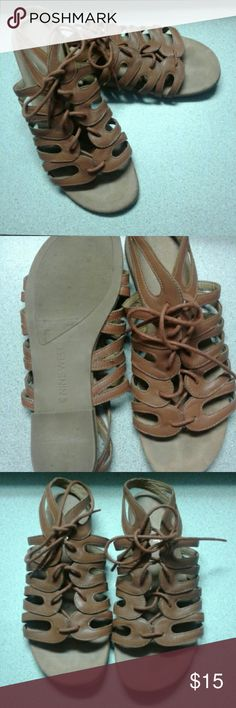59ee63f8613c Nine West Leather Sandals Size 5.5 Brown Nine West Sandal 5.5 Lace Up Brown  Genuine Leather