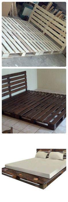Veja só como é simples fazer um cama de palete rústica e prática! E só precisa de 6 paletes de madeira! Pallet Bed Frames, Pallet Beds, Pallet Furniture, Pallet Patio, Kids Pallet Bed, Furniture Ideas, Lawn Furniture, Furniture Online, Furniture Outlet