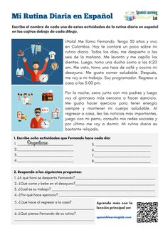 This worksheet will help you practice the key vocabulary and grammar to talk about your daily routine in Spanish with some simple and interesting exercises Spanish Worksheets, Spanish Teaching Resources, Spanish Vocabulary, Spanish Activities, Spanish Language Learning, Preterite Spanish, Vocabulary Strategies, Listening Activities, Vocabulary Activities