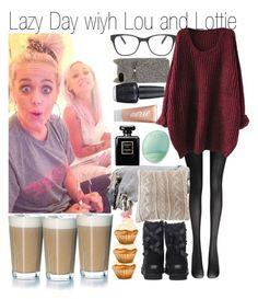 """""""Lazy day with Lou and Lottie"""" by kiksfashion ❤ liked on Polyvore featuring Fogal, UGG Australia, Prism, Kate Spade, OPI, Aerie, Rosendahl, Pom Pom at Home, Chanel and Eos"""
