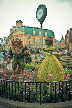 awesome Beauty and the Beast garden sculptures