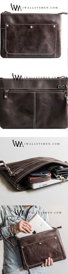 bfaf1df1d695 Handmade Leather Mens Cool Long Leather ipad bag Bifold Clutch Wallet for  Men
