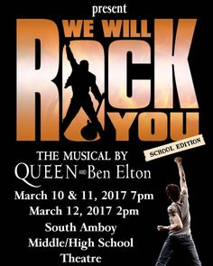 Tickets are now on sale for the SAHS Players production of We Will Rock You on March 10th 11th and 12th. $10 in advance $12 at the door. Reserved seating. See Mrs. Stratton in room 433.