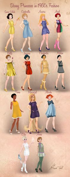 Disney Princesses in 1960s Fashion by Basak Tinli by BasakTinli.deviantart.com on @DeviantArt